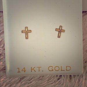 14k Solid Gold Cross Christian Earrings